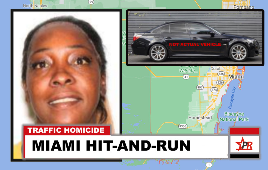 Tamika M. Miller, 45 years old, was critically injured on Thursday, February 11, 2021, at approximately 9:59 p.m., when a 2005 BMW M5, struck her vehicle at SW 186 Street and the Turnpike southbound off ramp. The driver of the BMW fled the scene.