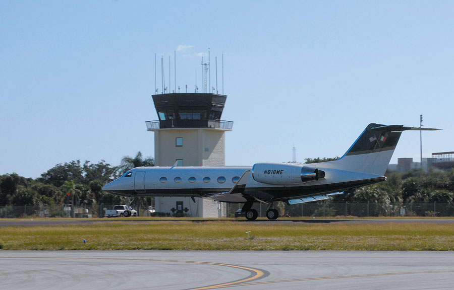 Business class medium sized jet at Boca Raton Airport in Palm Beach County, Florida. November 23, 2019. Photo credit ShutterStock.com, licensed.