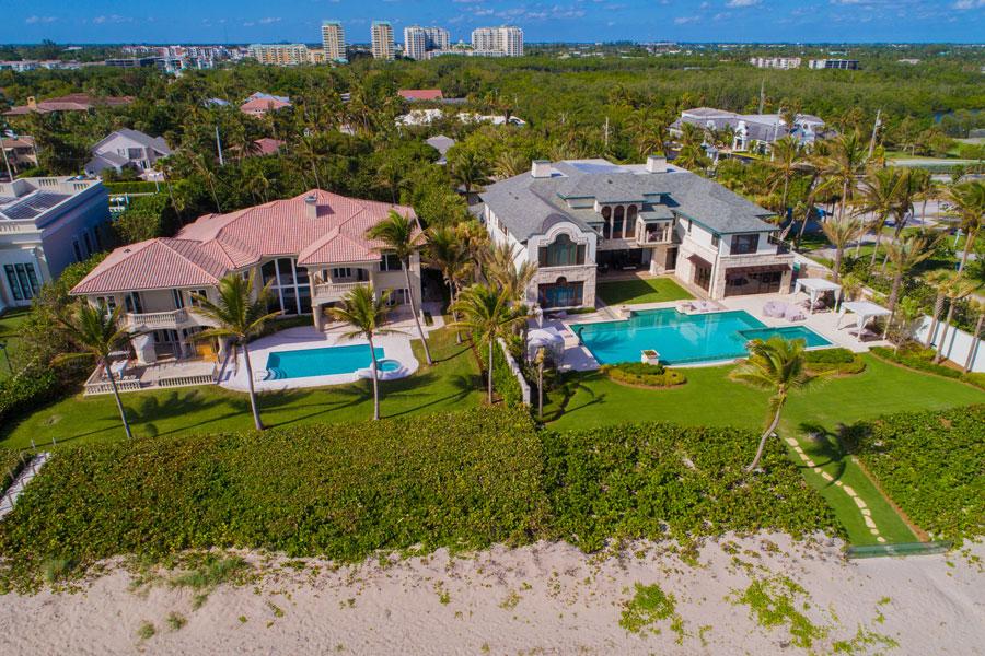 Aerial drone image of luxury mansions on Boynton Beach Florida. December 5, 2017.