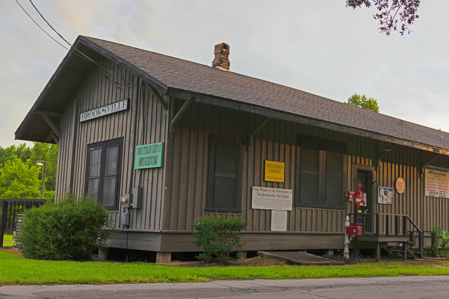 Brooksville Train Depot, built in 1885 by the Brooksville Railroad Association. Purchased in 1991 by the Hernando Historical Museum Association.