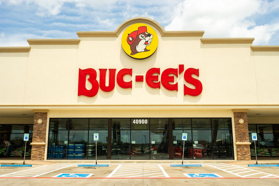 A Buc-ee's gas station and convenience store is visited by hundreds of hungry patrons on a busy afternoon. Bastrop, Texas - March 2019.