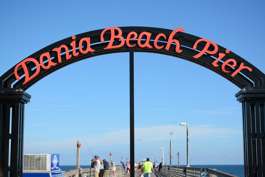 Entrance to Dania Beach Pier, in Fort Lauderdale, FL, December 24, 2017.