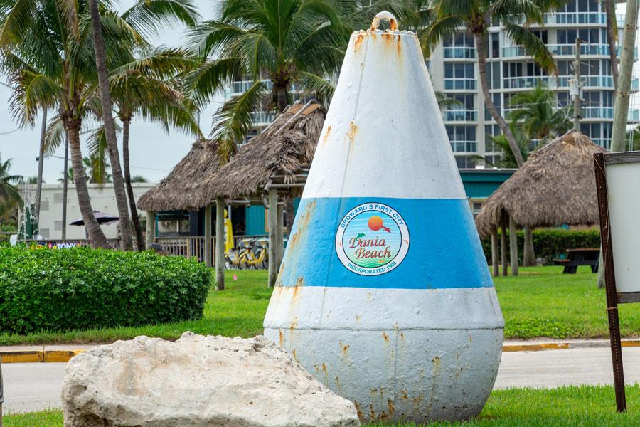 A large metal buoy at Frank C. Tootie Adler Park in Dania Beach, Florida, November 16, 2018.