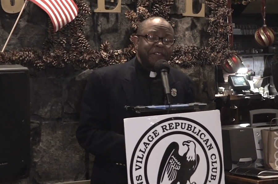 Daniel Ulysse, guest speaker at Queens Village Republican Club's Christmas/Chanukah Dinner Party on Dec 3, 2020.  Ulysse is an ordained Baptist minister, Chairman of Caribbean American Republican Assembly, President, Haitian American Republican Assembly, and Organizer for Black Voices for Trump.