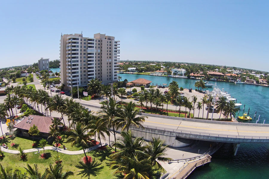 Deerfield Beach, Florida aerial scenery from flyover. Photo credit ShutterStock.com, licensed.