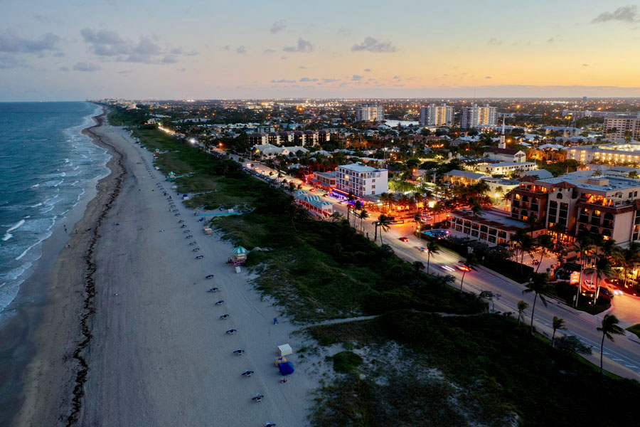 Delray Beach Florida, Beach strip at night. Photo credit ShutterStock.com, licensed.