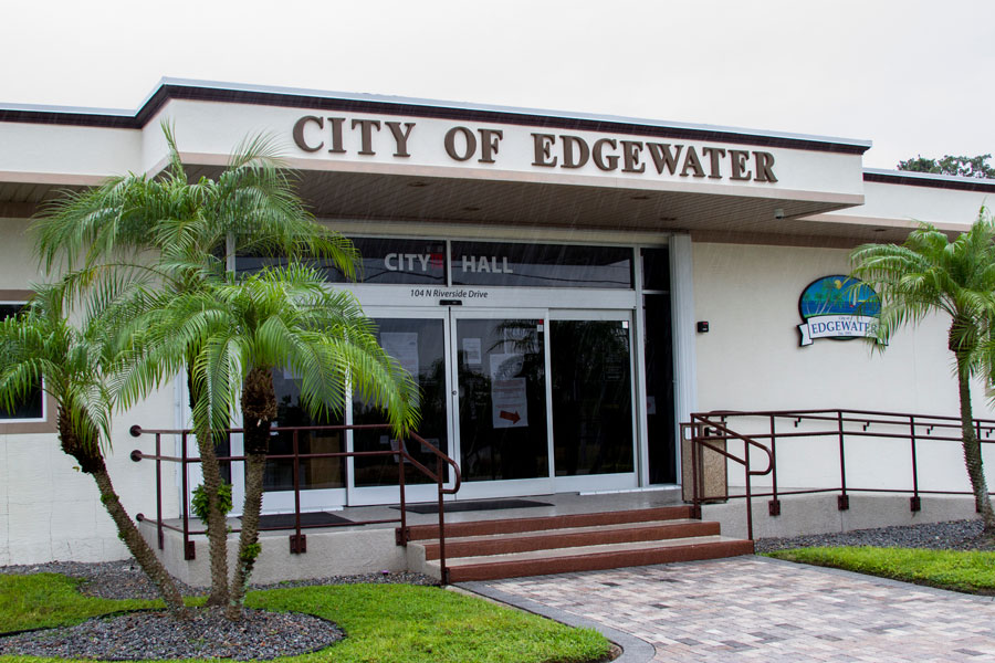 The Edgewater city hall building on October 3, 2020 in Edgewater, Florida. Editorial credit: Paulo Almeida Photography / Shutterstock.com, licensed.