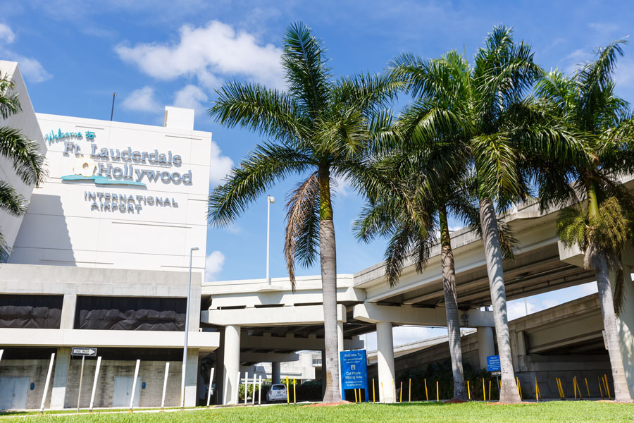 Dania Beach is conveniently near Fort Lauderdale Airport and has a slew of inexpensive places in which visitors can stay. Logo of Fort Lauderdale airport (FLL) in Florida. Fort Lauderdale, Florida – April 6, 2019,