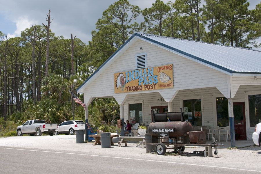 An exterior view of the Indian Pass Trading Post famous for it's oysters near Apalachicola, Northern Florida, 2014, Editorial credit: Peter Titmuss, Shutterstock.com, licensed.