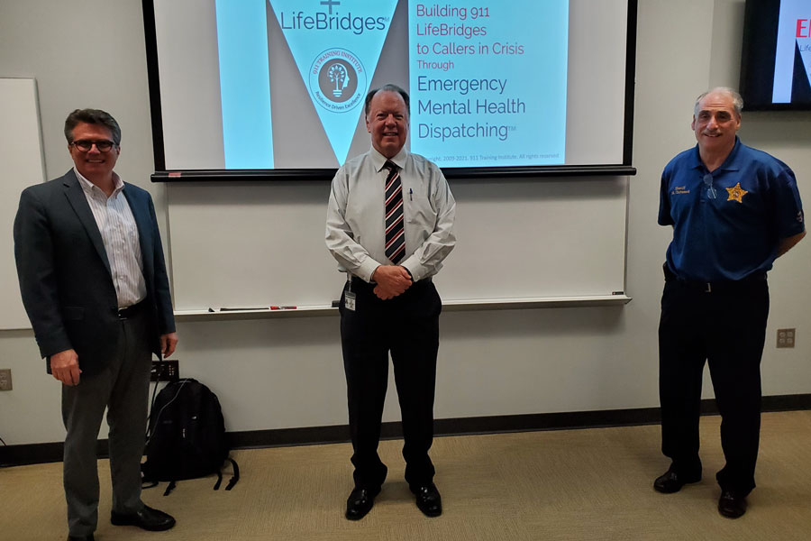 From left to right: Jim Marshall, co-founder and director of the 911 Training Institute in Michigan, Communications Director Jim Soukup, and Sheriff Chitwood. February 1, 2021.