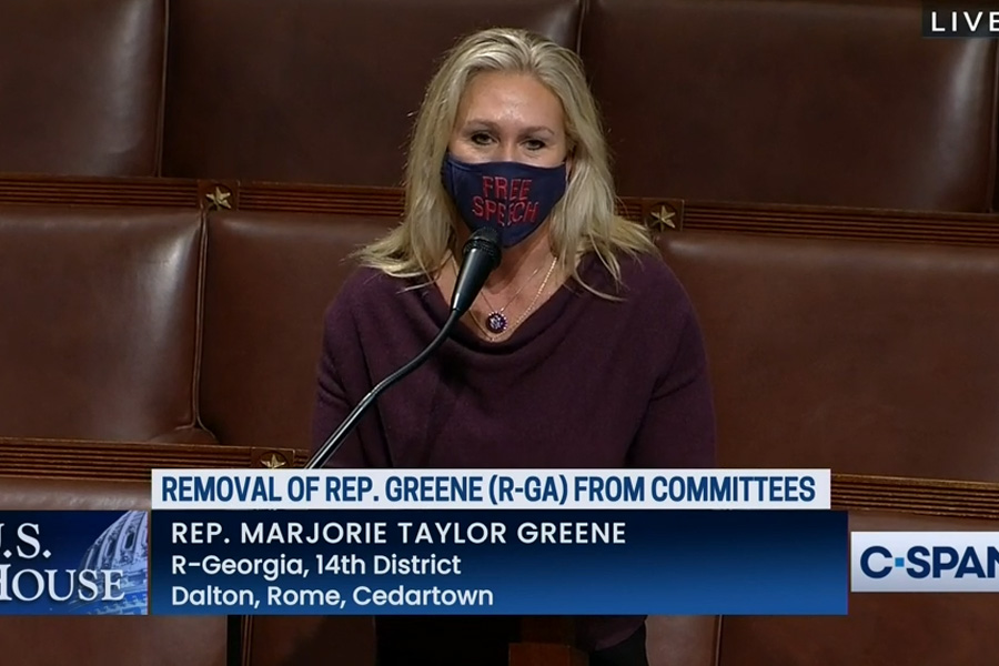 All House Democrats – and 11 Republicans – voted 230-199 to strip Rep. Marjorie Taylor Greene (R-GA) of her positions on the education and budget committees, thus taking away her ability to help shape policy, as most bills go through a committee before they ever reach Congress. Photo credit: C-SPAN.