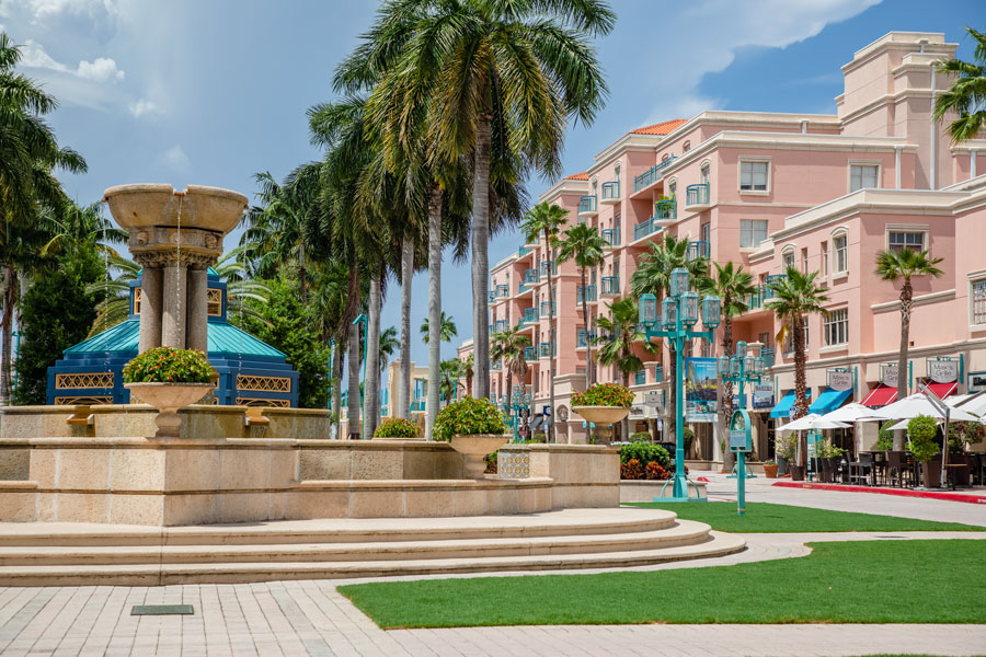 Mizner Park outdoor mall as seen on August 7, 2019. Photo credit ShutterStock.com, licensed.