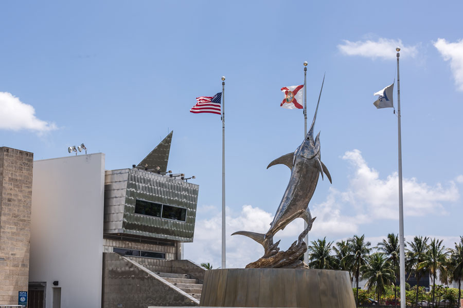 The IGFA International Game Fish Association with the Marlin Statue in front. Museum with world records in fishing. Teach kids to fish. Dania Beach, Florida, June 26, 2019.