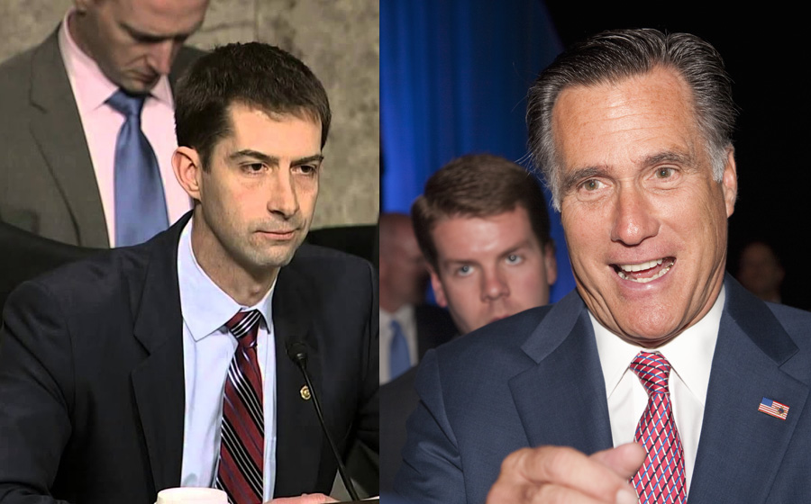 Tom Cotton (R-AR) and Senators Mitt Romney (R-UT) have announced a separate bill that would not only increase minimum wage, but contain extra provisions barring employers from hiring illegal immigrant workers as well, reports say. C-SPAN (left) /Joseph Sohm (right)/ Shutterstock.com, licensed.