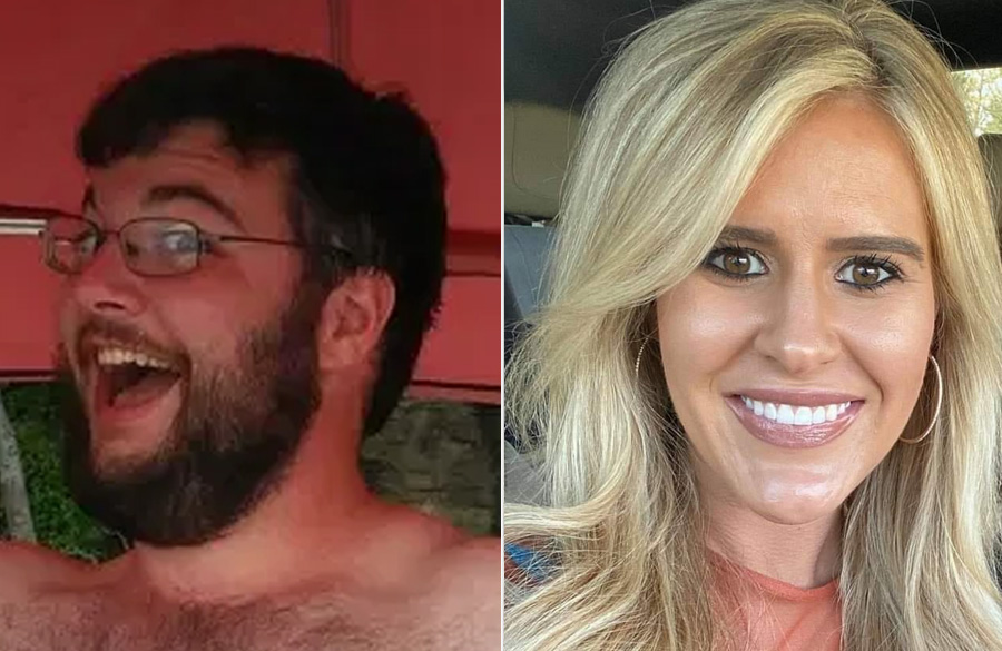 Quake Lewellyn, 28, who is accused of killing Sydney Sutherland, 25. Sutherland, 5ft 3in and 103 lbs was last seen jogging in the area of State Hwy 18 in August 2020. Both images, Facebook.