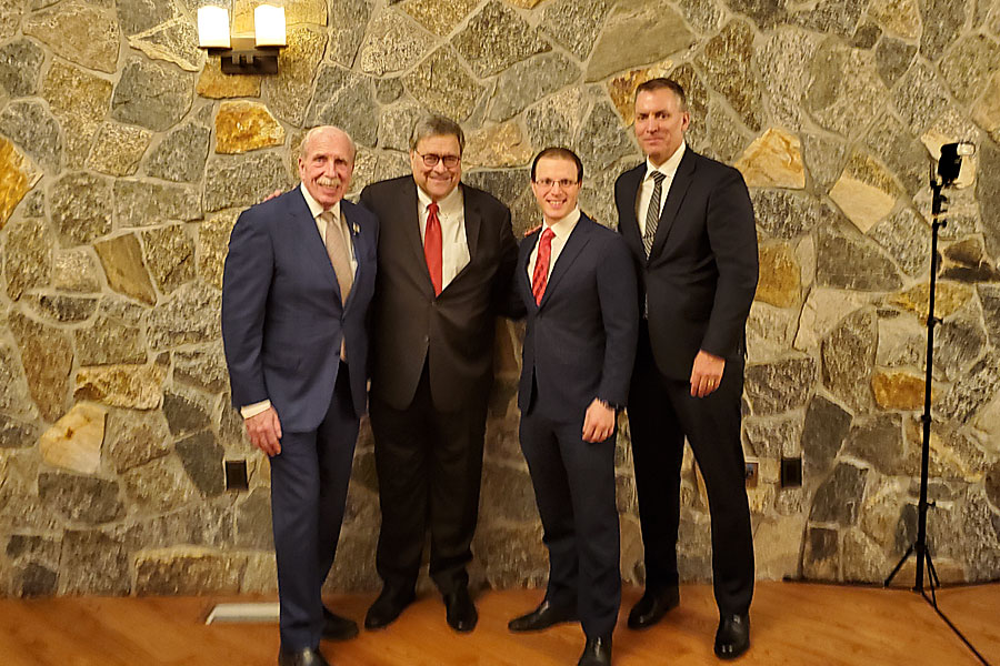 At Antun's, right to left: Joe King, US Attorney General William Barr, Mickey King, Police Commissioner Dermot Shea.