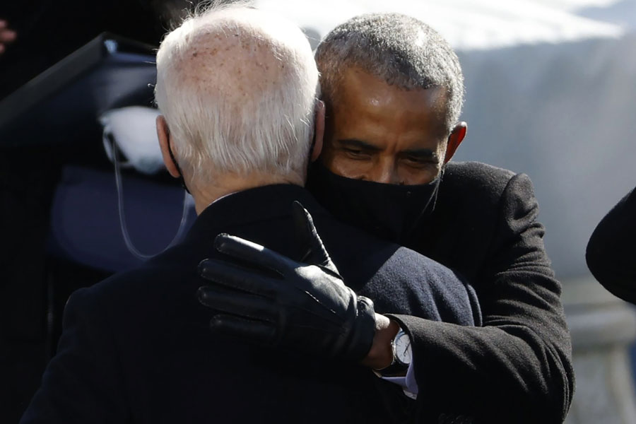 U.S. President Joe Biden with former U.S President Barack Obama during Biden's inauguration as president of the United States on the West Front of the U.S. Capitol in Washington,D.C., Jan. 20, 2021. Editorial credit: mccv / Shutterstock.com, licensed.