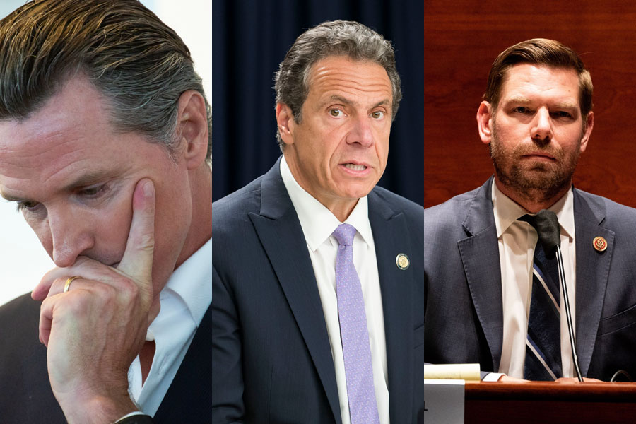 Governor Cuomo may soon face a jury of his underlings for the deaths of thousands, California's top honcho, Governor Newsom, is on the brink of a citizen recall for his disgraceful ineptitude, Congressman Eric Swalwell, has been outed for sleeping with a Chinese spy. Editorial credits (L to R): Matt Gush, David McGlynn, John Smith Williams, ShutterStock.com, licensed.