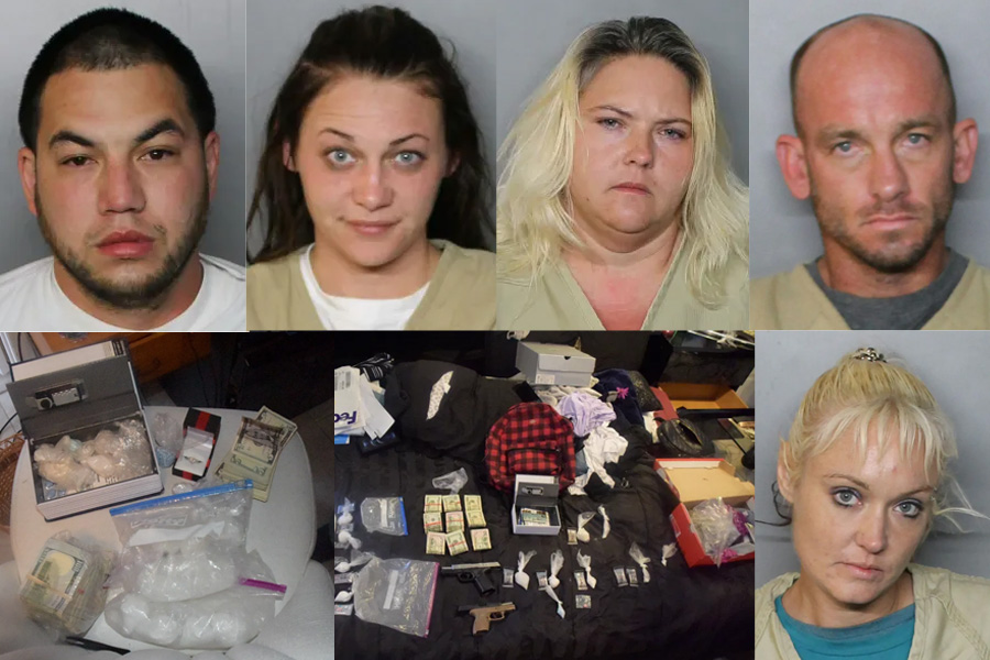 On the morning of February 4th, 2021, a Narcotics search warrant was executed at 2369 Starlite Lane in Port Charlotte. From left to right were arrested: Clayton M. Waidelich, 31 (top left), Nicole Elizabeth Williams, 26, (top left center) Jessica N. Whaley, 36, (top right center) Murray Holloway, 40 (top right), Sabrina Fisher, 36, (bottom right).