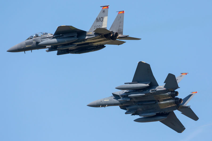 """The strikes – conducted by two F15s dropping GPS-guided Joint Direct Attack Munitions (JDAMs) – reportedly destroyed """"multiple facilities"""" near al-Hurri village on the Syrian-Iraqi border inside Syria and resulted in the deaths of at least 22 Iraqi Hezbollah militants, according to reports."""