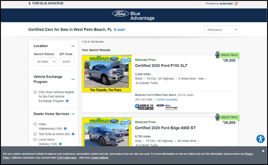 On FordBlueAdvantage.com, all vehicles are listed with a guaranteed selling price to take the guesswork out of car buying. The site features Kelley Blue Book® Price Advisor to signify if a vehicle has a Good or Great price. Visitors also have access to the original window sticker.
