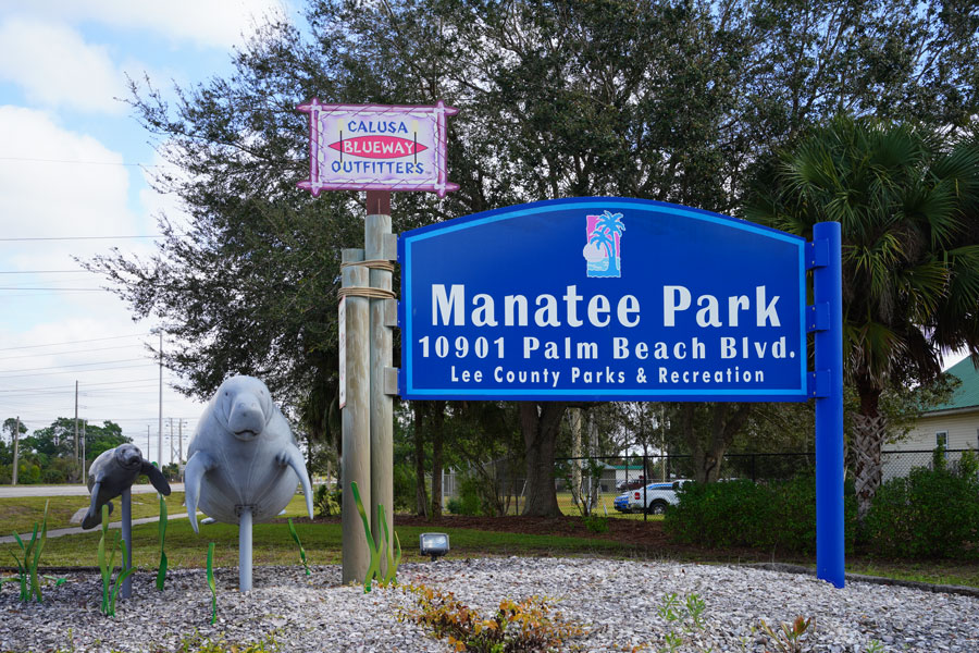 View of the Manatee Park in Lee County, Florida, next to the Florida Power and Light power plant. Fort Myers, Florida, January 20, 2020.