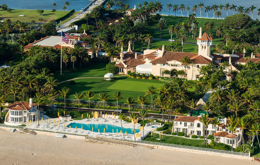 President-elect Donald Trump is expected to vacation at his Mar-a-Lago club and mansion in Florida. Mar-a-Lago is shown in an aerial view as of January 12, 2013.