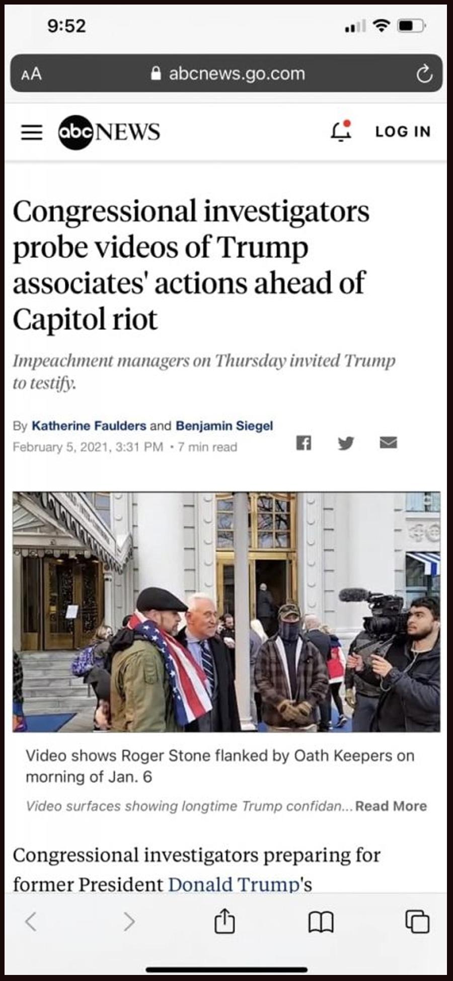 Congressional investigators probe videos of Trump associates' actions ahead of Capitol riot
