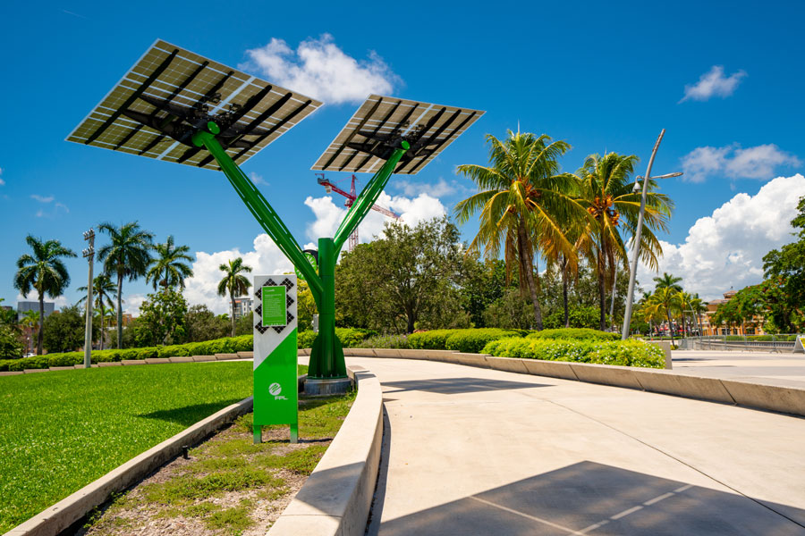 A FPL Florida Power and Light solar tree at Young Circle Arts Park in Hollywood Florida. August 8, 2020. Editorial credit: Felix Mizioznikov / Shutterstock.com, licensed.