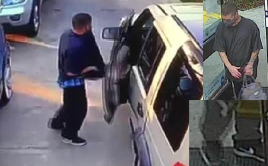 Detectives are pointing out that the suspect has a full sleeve tattoo on his left forearm and tattoos on the top of his left hand. Tattoos in the inside right forearm. He was wearing black Nike sneakers with White soles.