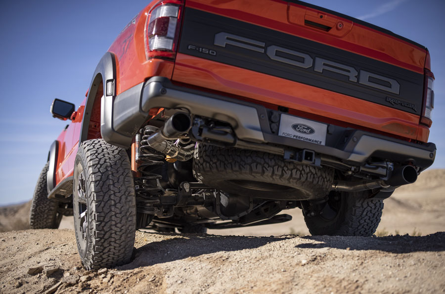 Tackle tougher terrain: Fully redesigned F-150 Raptor boosts its off-road capability with all- new five-link rear suspension featuring improved wheel travel, electronically controlled next- generation FOX™ shocks with Live Valve™ technology, plus first-in-class* available 37-inch tires to tackle tougher terrain on high-speed desert runs