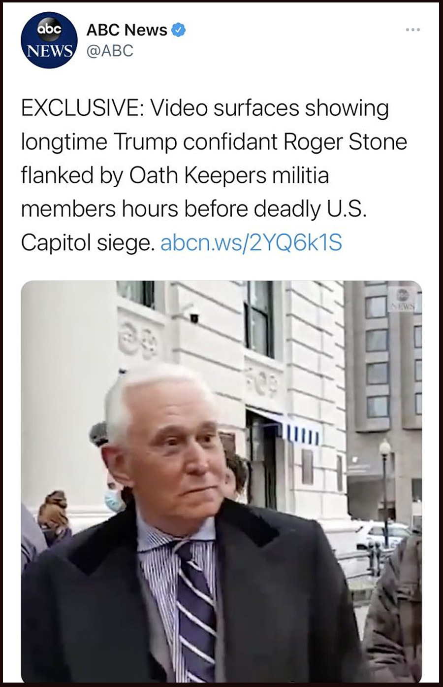 Video surfaces showing Trump ally Roger Stone flanked by Oath Keepers on morning of Jan. 6