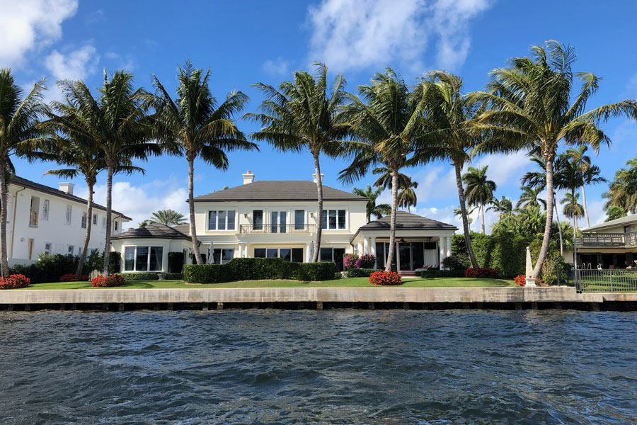 A luxurious waterfront villa on the intracoastal waterway in Delray Beach, Florida, February 3 2019.