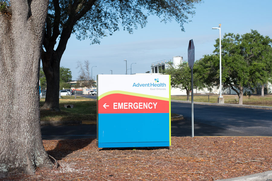 Sign for Advent Health Hospital Emergency, 60 Memorial Medical Pkwy, Palm Coast, FL 32164