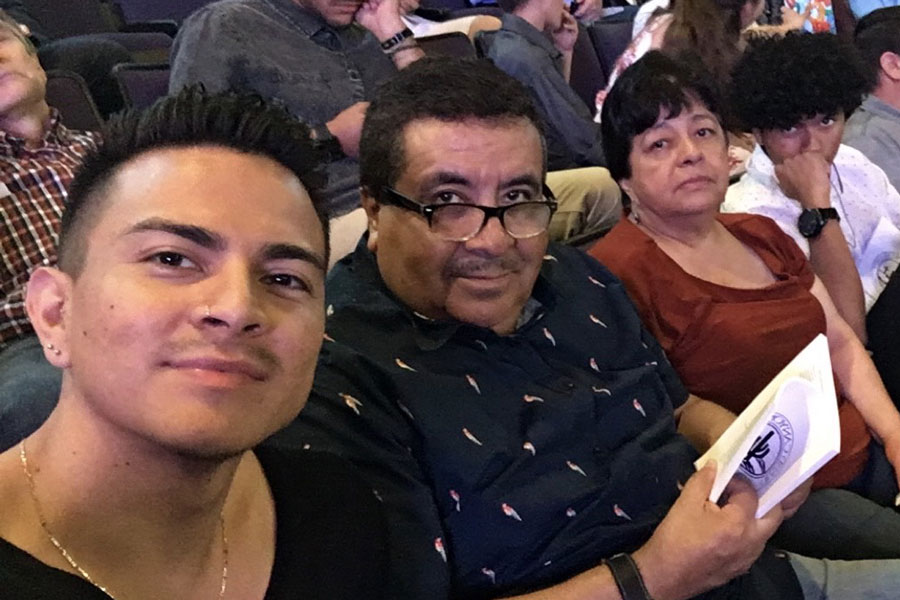 """Miguel Lerma's grandfather Jose Aldaco (center) raised him as his own son. """"Losing my dad, this is what heartbreak is,"""" Lerma says of Aldaco, who died of covid in July."""