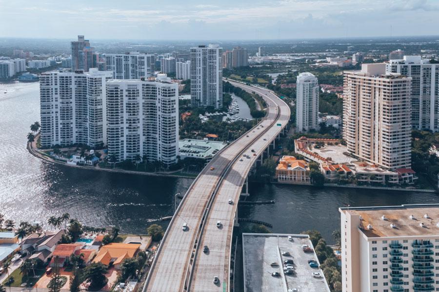 Aerial View on Skyscrapers and Buildings Aventura City. Real Estate in Aventura City, FL. Aventura, Florida, October 20, 2019.