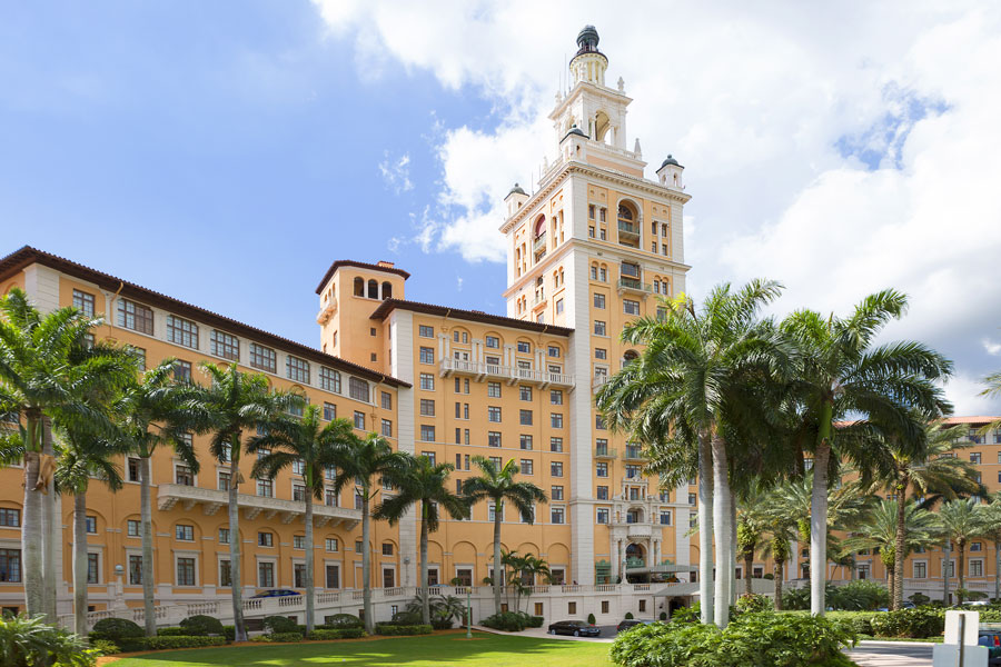 The historic resort The Biltmore hotel in located in Coral Gables, Florida near Miami. The Biltmore Hotel became the hallmark of Coral Gables. Photo credit ShutterStock.com, licensed.