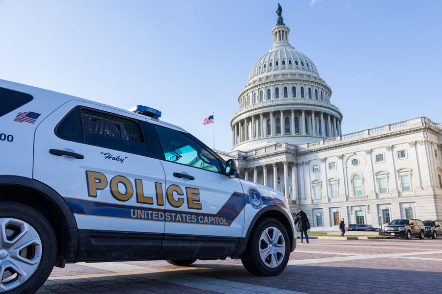 December 11, 2019: United States Capital Police car parked out-front of the US Capitol Building. Washington, DC Editorial credit: JL IMAGES / Shutterstock.com, licensed.