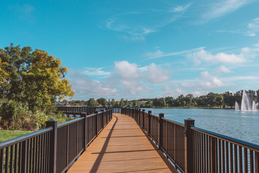 Boardwalk on Lake Concord on a bright sunny day in Casselberry, Florida. Photo credit ShutterStock.com, licensed.