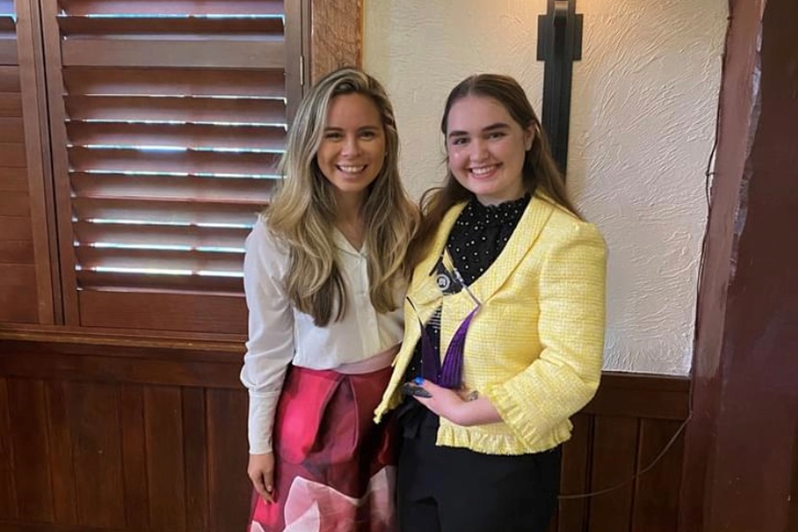 ORWF immediate past president Tiffany Corfman Parks (left) presented the Rising Star award to Claire Crossman, founder and president of the WPHS Republican Club.