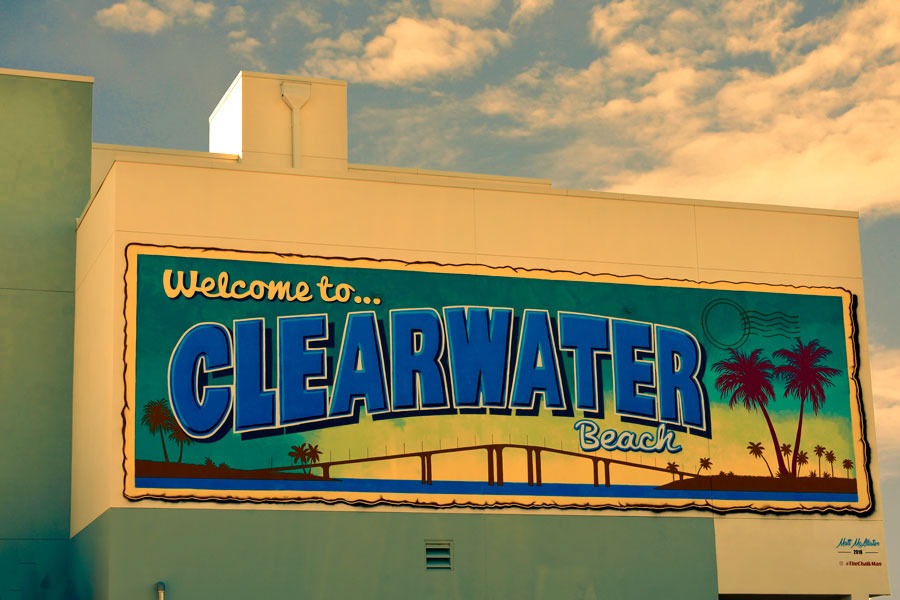 Welcome to Clearwater Beach wall mural in Piere 60 area. Clearwater Beach, Florida. October 18, 2018.