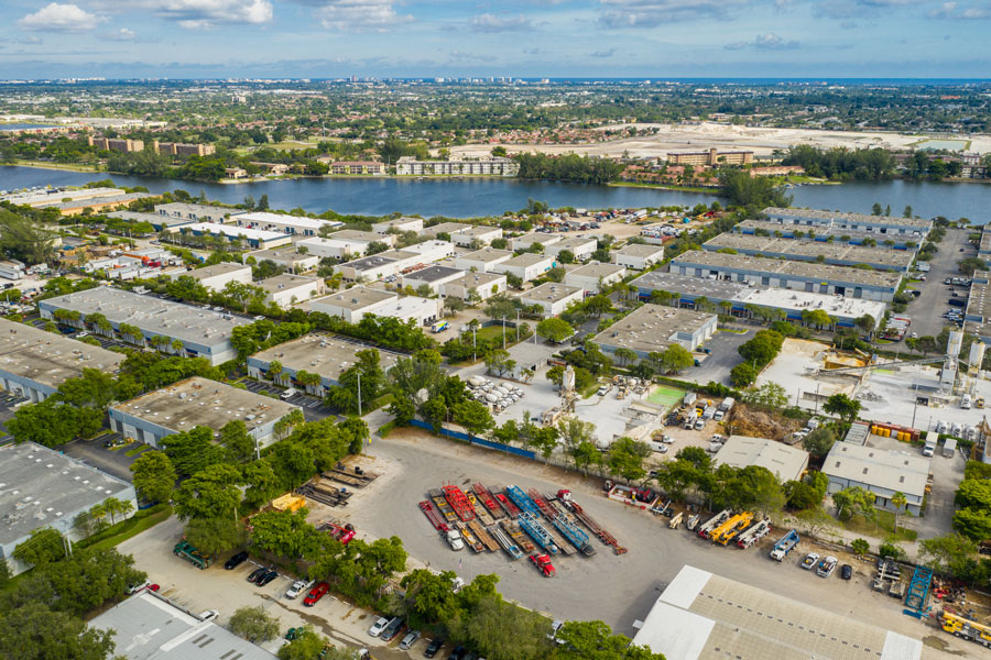 Aerial drone photo industrial warehouses and business district Coconut Creek Florida. Photo credit ShutterStock.com, licensed.