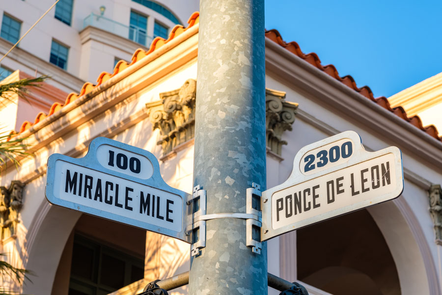 Cityscape sign view of the popular Miracle Mile in downtown Coral Gables, Florida. Photo credit ShutterStock.com, licensed.