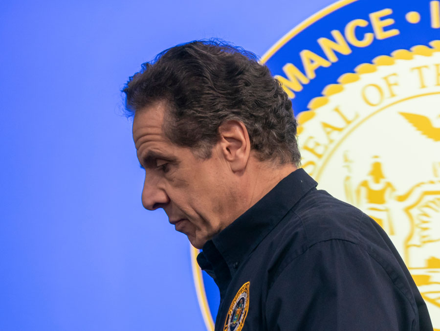Governor Andrew Cuomo after he spoke to media during daily briefings on the COVID-19 pandemic at Jacob Javits Convention Center. New York, NY - March 24, 2020. Editorial credit: Lev Radin / Shutterstock.com.