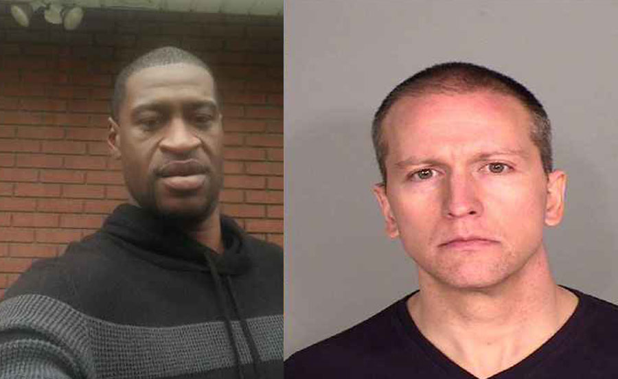 On May 25, 2020, police confronted George Floyd (left) about a fake twenty dollar bill. One of the officers Minneapolis, Minnesota policeman, Derek Chauvin, placed his knee on the neck of Floyd while restraining him, for approximately eight minutes. When ambulance was called, Floyd was transported to the hospital where he pronounced dead. Floyd in an Attorney released photo / Chauvin mug shot.