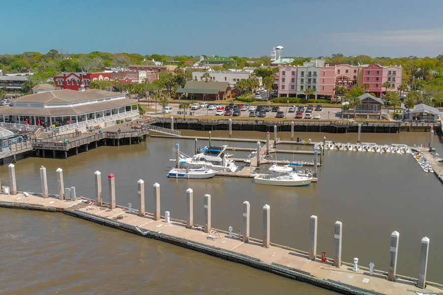 An aerial view of the coastline of Fernandina Beach, a famous attraction for tourists in Florida.