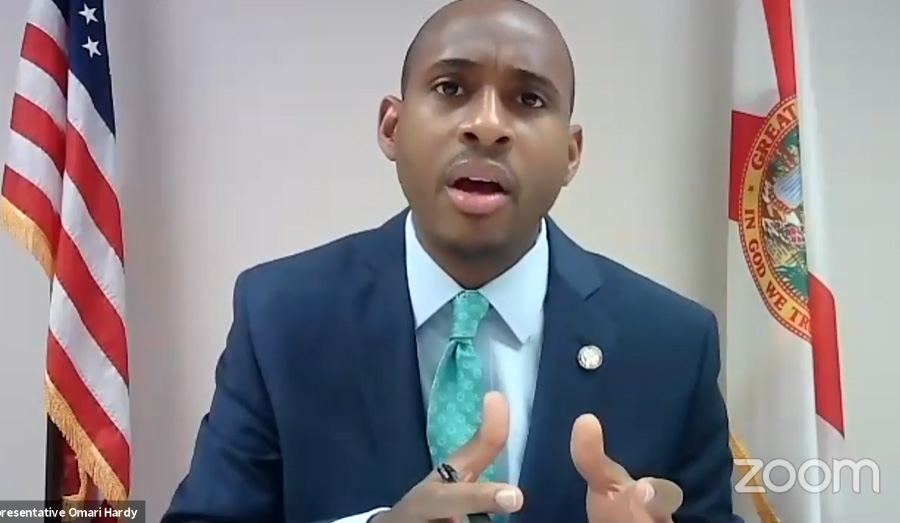 Florida Representative Omari Hardy speaking during the live event on Florida Solar Access, Recorded Live by Solar United Neighbors. The proposed bill would help spur economic growth, job creation, and energy cost savings in Florida.
