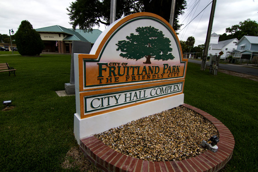 A sign outside Fruitland Park City Hall in Fruitland Park, Florida, March 25, 2019.
