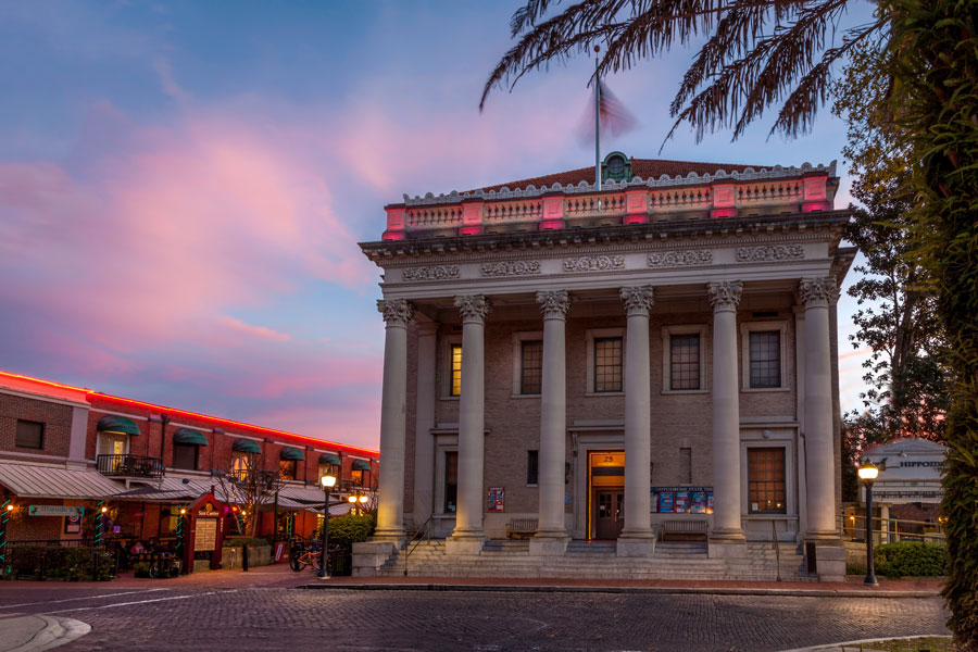 Hippodrome State Theatre in Downtown Gainesville at dusk with a beautiful sky. Editorial credit: H.J. Herrera / Shutterstock.com, licensed.