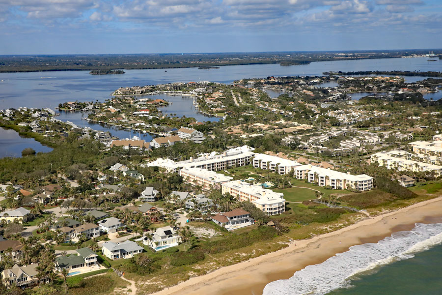 Aerial view of Johns Island in Indian River Shores, near Vero Beach on Hutchinson Island, just southeast of Fellsmere, Florida